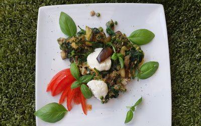 Frittata met spinazie, aubergine en geitenkaas