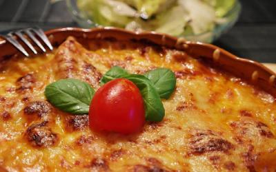 Vegetarische lasagne van zoete aardappel
