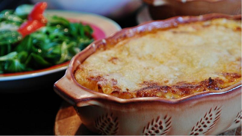 Lasagne van courgette met geitenkaas en spinazie